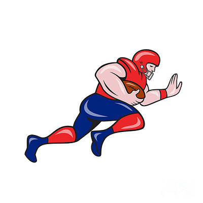 American Football Running Back Charging Cartoon Art Print