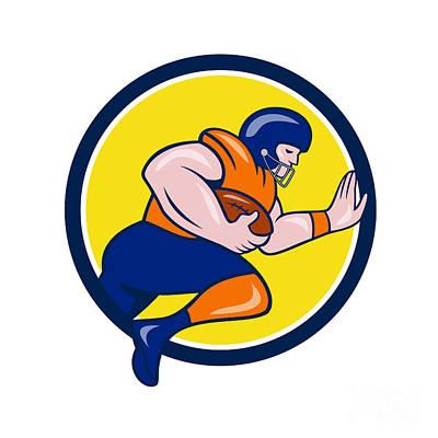 American Football Running Back Charging Circle Cartoon Art Print