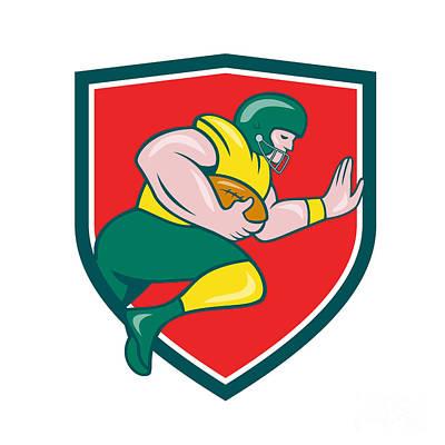 American Football Running Back Charging Crest Cartoon Art Print