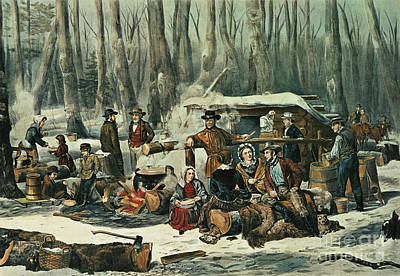 Axe Painting - American Forest Scene by Currier and Ives