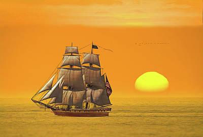 Digital Art - American Frigate Sails At Sunset by Glenn Holbrook