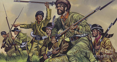 Camo Wall Art - Painting - American Frontiersmen by Ron Embleton