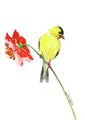 Painting - American Goldfinch And Red Flowers by Suren Nersisyan
