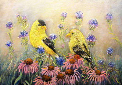 Painting - American Goldfinch Pair by Loretta Luglio