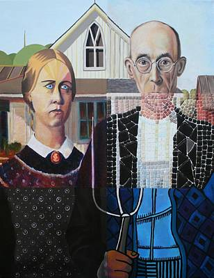 Painting - American Gothic After Grant Wood In Six Styles by Katherine Huck Fernie Howard
