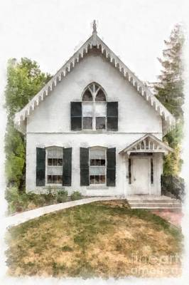 American Gothic Cottage Watercolor Art Print by Edward Fielding