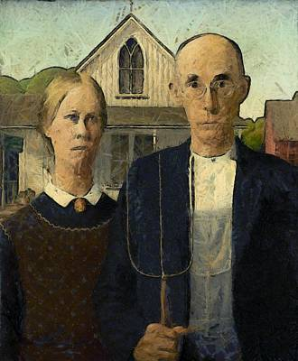 Photograph - American Gothic Digital Painting by Grant Wood