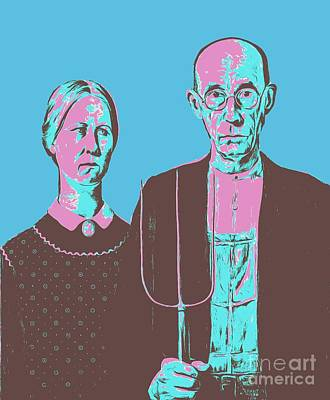 American Gothic Photograph - American Gothic Grant Wood Pop Art Tee by Edward Fielding