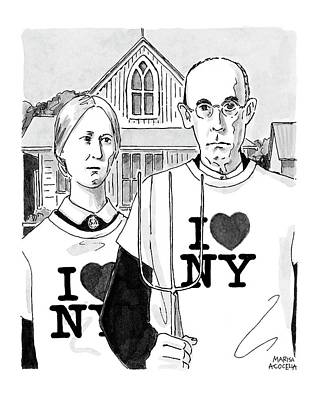 Drawing - American Gothic by Marisa Acocella Marchetto