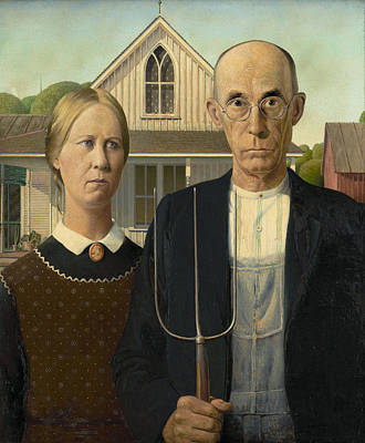 Landmarks Painting Royalty Free Images - American Gothic Painting - Grant Wood Royalty-Free Image by War Is Hell Store