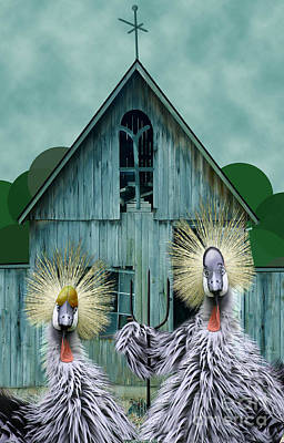 Chicken Digital Art - American Gothic Revisisted  by Lois Mountz