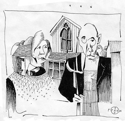 Gary Peterson Drawing - American Gothic Revisited by Gary Peterson