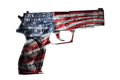Macro Digital Art - American Gun  by Les Cunliffe