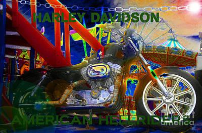 Harley Davidson Art Painting - American Hellriders by David Lee Thompson
