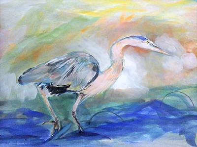 Painting - American Herons by Khalid Saeed