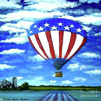 4th July Painting - American High by Ricky Baker