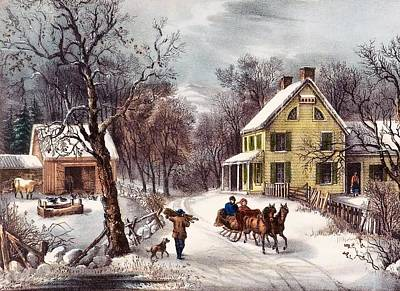 Horse And Sleigh Painting - American Homestead by Currier and Ives