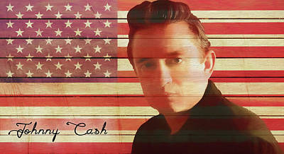 Landmarks Mixed Media - American Icon Johnny Cash by Dan Sproul