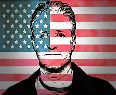 Jon Stewart Digital Art - American Icon Jon Stewart by Dan Sproul