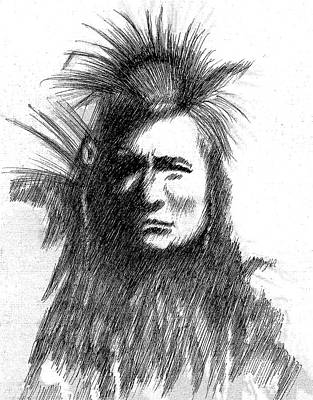 Drawing - American Indian by Al Intindola