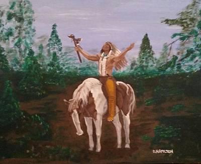 Pinto Painting - American Indian Praying On Horseback by Denise Hamilton