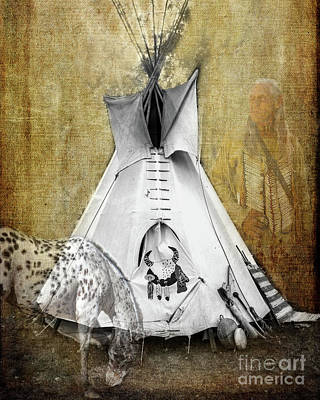 Photograph - American Indian Teepee, Horse And Warrior  by Jerry Cowart