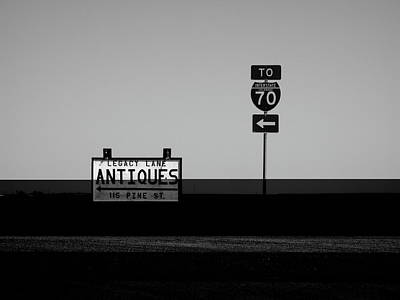 Photograph - American Interstate - Kansas I-70 Bw by Frank Romeo