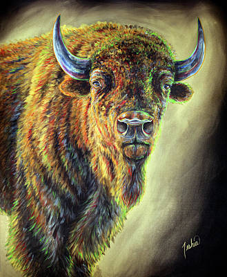 Bison Painting - American Legend  by Teshia Art