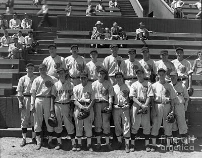 Photograph - American Legion Baseball Team At Jacks Park Monterey 1949 by California Views Mr Pat Hathaway Archives