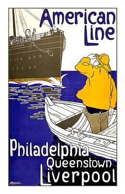Mixed Media - American Line - Philadelphia, Queenstown, Liverpool - Retro Travel Poster - Vintage Poster by Studio Grafiikka