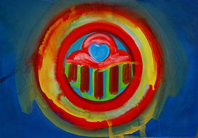 Art Print featuring the painting American Love Button by Charles Stuart