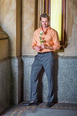 Photograph - American Man Missing You With White Rose, Waiting For You. by Alexander Image