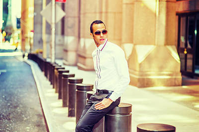 Photograph - American Man Relaxing On Street In New York by Alexander Image