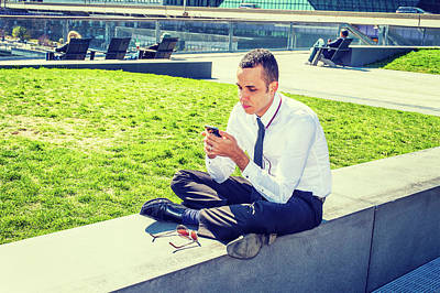 Photograph - American Man Texting Outside In New York by Alexander Image