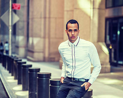 Photograph - American Man Waiting For You On Street by Alexander Image