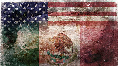 Digital Art Rights Managed Images - American Mexican Tattered Flag  Royalty-Free Image by Az Jackson