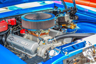V8 Chevelle Photograph - American Muscle Car Engine by Randy Steele