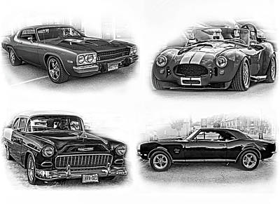 Purple V8 Photograph - American Muscle Collage Bw by Steve Harrington