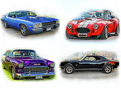 Purple V8 Photograph - American Muscle Collage by Steve Harrington