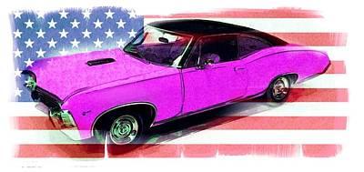 American Flag Mixed Media - American Muscle by Gra Howard