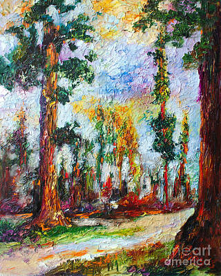 Sequoia National Park Painting - American National Parks Redwood Trees by Ginette Callaway