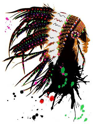 Digital Art - American Native Female by Mihaela Pater