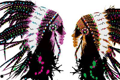 Digital Art - American Native Indian Women by Mihaela Pater