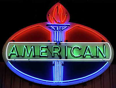 Print featuring the photograph American Oil Sign by Sandy Keeton