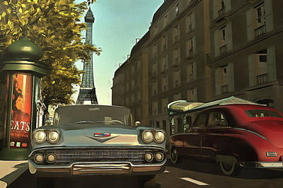 American  Oldtimers In Paris Art Print