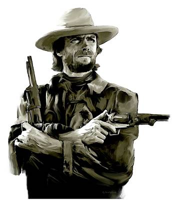 American Outlaw V Clint Eastwood Art Print by Iconic Images Art Gallery David Pucciarelli