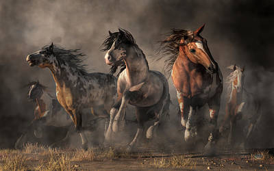 Digital Art - American Paint Horses by Daniel Eskridge