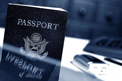 Photograph - American Passport At Immigration Office by Olivier Le Queinec