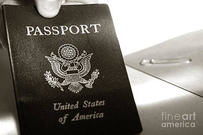 Photograph - American Passport In Traveler Hand by Olivier Le Queinec