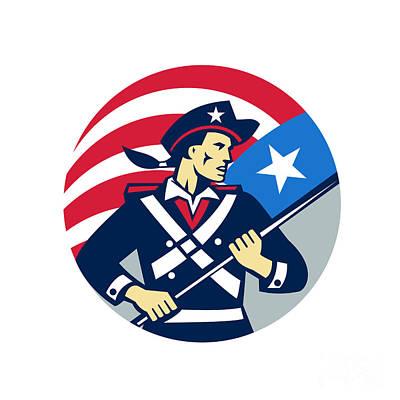 American Patriot Holding Brandish Usa Flag Circle Retro Print by Aloysius Patrimonio